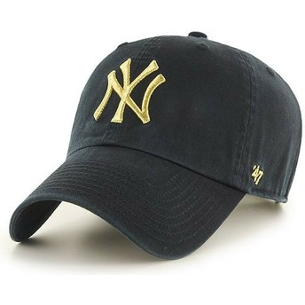 Boné curvo preto com logo ouro da New York Yankees MLB Clean Up Metallic da 47 Brand