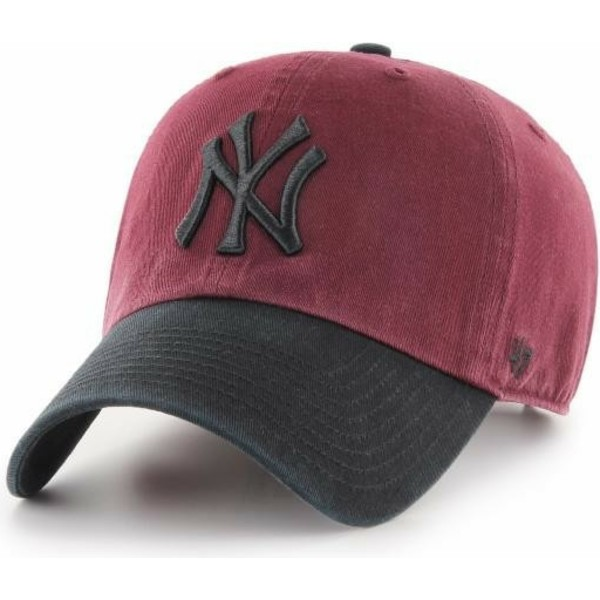 bone-curvo-vermelho-com-pala-e-logo-preto-da-new-york-yankees-mlb-clean-up-two-tone-da-47-brand