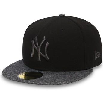 Boné plano preto justo com logo e pala cinza 59FIFTY Grey Collection da New York Yankees MLB da New Era