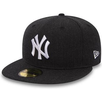 Boné plano preto justo 59FIFTY Seasonal Heather da New York Yankees MLB da New Era