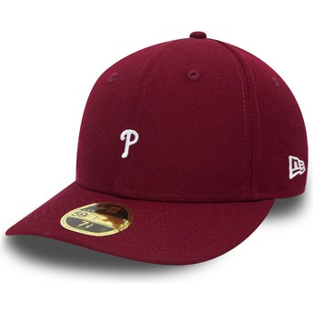 Boné curvo violeta justo 59FIFTY Low Profile Mini Logo da Philadelphia Phillies MLB da New Era