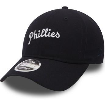 Boné curvo azul marinho ajustável 9FIFTY Low Profile History da Philadelphia Phillies MLB da New Era