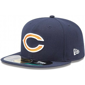 Boné plano azul marinho justo 59FIFTY On Field da Chicago Bears NFL da New Era