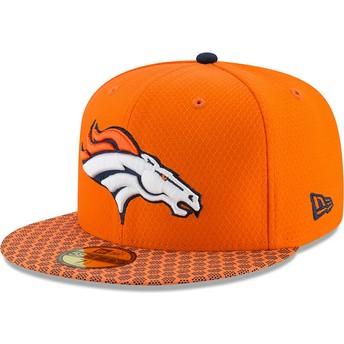 Boné plano laranja justo 59FIFTY Sideline da Denver Broncos NFL da New Era