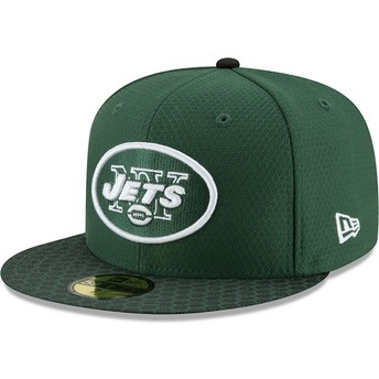 Boné plano verde justo 59FIFTY Sideline da New York Jets NFL da New Era