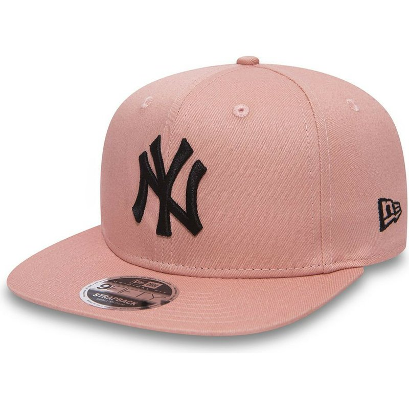 bone-plano-rosa-ajustavel-com-logo-preto-9fifty-true-originators-da-new-york-yankees-mlb-da-new-era