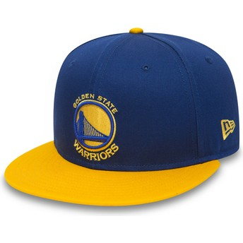 Boné plano azul e amarelo snapback 9FIFTY da Golden State Warriors NBA da New Era