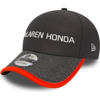 Boné curvo cinza ajustável 9FORTY Fernando Alonso da McLaren Racing Formula 1 da New Era