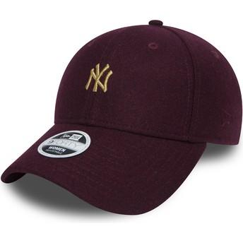 Boné curvo grená ajustável com logo ouro 9FORTY Melton da New York Yankees MLB da New Era