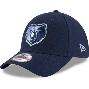 Boné curvo azul ajustável com logo bordado 9FORTY The League da Memphis Grizzlies NBA da New Era