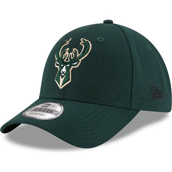 Boné curvo verde ajustável 9FORTY The League da Milwaukee Bucks NBA da New Era