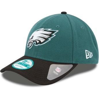 Boné curvo verde e preto ajustável 9FORTY The League da Philadelphia Eagles NFL da New Era