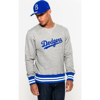 Sweatshirt cinza Crew Neck Heritage da Brooklyn Dodgers MLB da New Era
