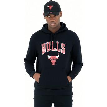 Moletom com capuz preto Pullover Hoody da Chicago Bulls NBA da New Era