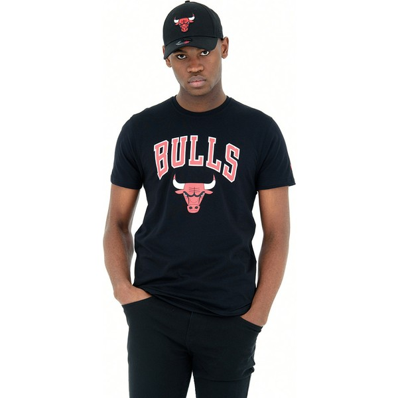 Camiseta de manga curta preto da Chicago Bulls NBA da New Era ... a7523eeefe0