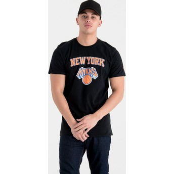 Camiseta de manga curta preto da New York Knicks NBA da New Era