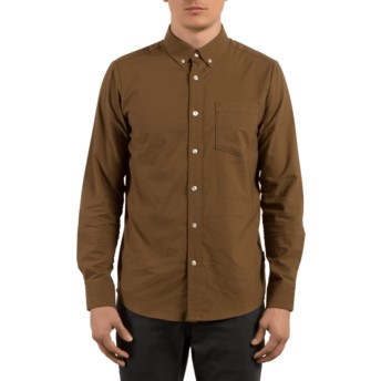Camisa manga comprida castanha Oxford Stretch Mud da Volcom