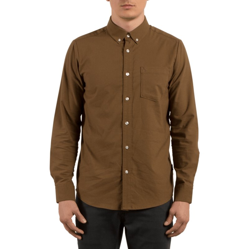 camisa-manga-comprida-castanha-oxford-stretch-mud-da-volcom