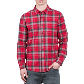 Camisa manga comprida vermelha aos quadrados Caden Deep Red da Volcom