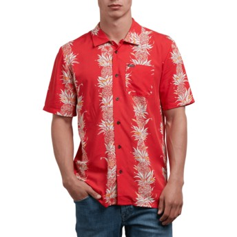 Camisa manga curta vermelha Palm Glitch True Red da Volcom