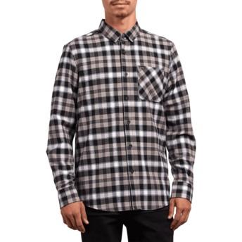 Camisa manga comprida preta aos quadrados Caden Plaid Black da Volcom