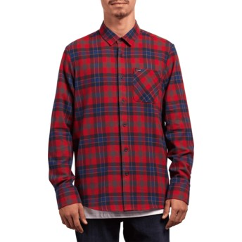 Camisa manga comprida vermelha aos quadrados Caden Plaid Engine Red da Volcom