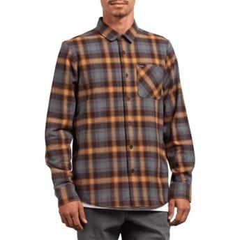 Camisa manga comprida castanha e azul aos quadrados Caden Plaid Espresso da Volcom