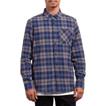 Camisa manga comprida azul aos quadrados Caden Plaid Matured Blue da Volcom