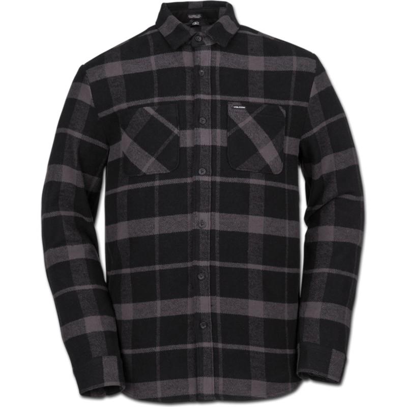 e5a0f3613 Camisa manga comprida preta aos quadrados Shader Black da Volcom ...