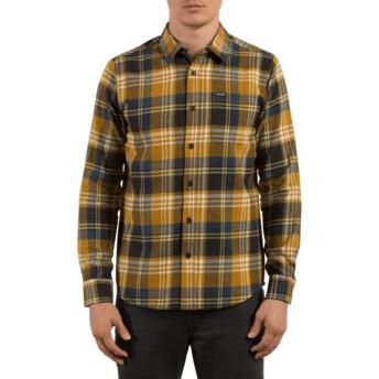 Camisa manga comprida castanha aos quadrados Caden Caramel da Volcom