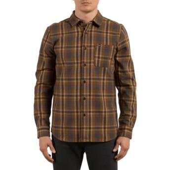 Camisa manga comprida castanha aos quadrados Marcos Mud da Volcom