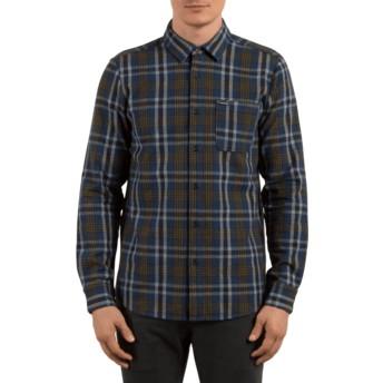 Camisa manga comprida azul marinho aos quadrados Marcos Smokey Blue da Volcom