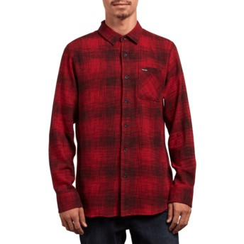 Camisa manga comprida vermelha Buffalo Glitch Engine Red da Volcom