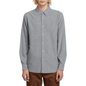 Camisa manga comprida cinza Oxford Stretch Black da Volcom