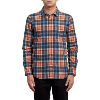 Camisa manga comprida laranja e azul aos quadrados Hayden Scream Red da Volcom