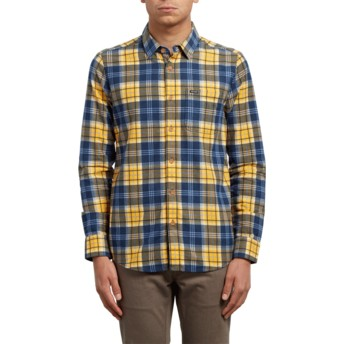 Camisa manga comprida amarela e azul aos quadrados Hayden Tangerine da Volcom