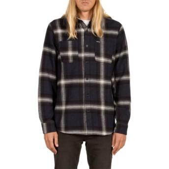 Camisa manga comprida azul marinho aos quadrados Lexicon Indigo da Volcom