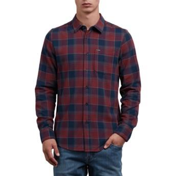 Camisa manga comprida vermelha e azul marinho aos quadrados Caden Crimson da Volcom