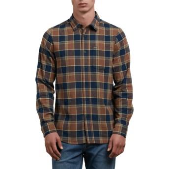 Camisa manga comprida azul marinho e castanha aos quadrados Caden Indigo da Volcom