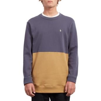 Sweatshirt azul marinho e amarelo Single Stone Division Midnight Blue da Volcom
