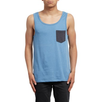 Camiseta sem mangas azul Pocket Wrecked Indigo da Volcom