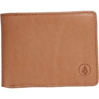 Carteira castanha Strangler Leather Natural da Volcom
