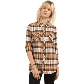 Camisa manga comprida castanha Desert Fly Caramel da Volcom