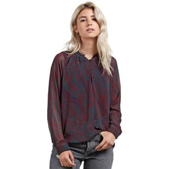 Blusa manga comprida vermelha Zebom Burgundy da Volcom