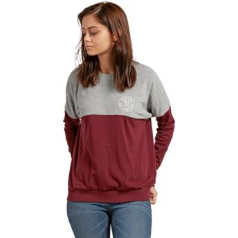 Sweatshirt vermelho e cinza Blocking Burgundy da Volcom