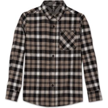 Camisa manga comprida preta aos quadrados para criança Caden Plaid Black da Volcom