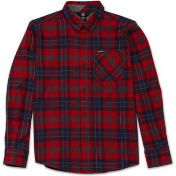 Camisa manga comprida vermelha aos quadrados para criança Caden Plaid Engine Red da Volcom