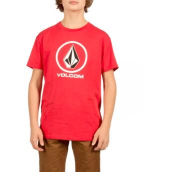 Camiseta manga curta vermelho para criança Circle Stone True Red da Volcom