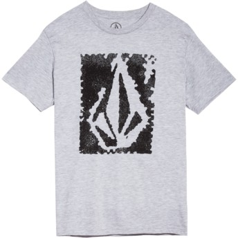Camiseta manga curta cinza para criança Pixel Stone Heather Grey da Volcom
