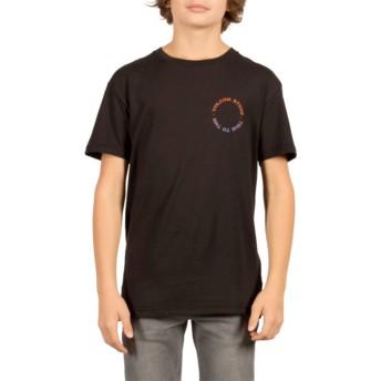 Camiseta manga curta preto para criança Base Black da Volcom